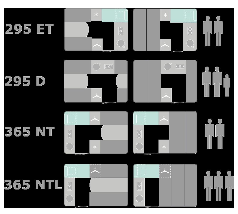 Grundplaner over alle modeller fra OPUS campingvogne.